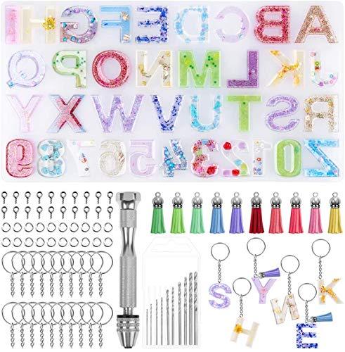 Jasinber Moldes de resina de silicona Alphabet con juego de llavero y tornillo de banco para hacer llavero (Alfabeto)