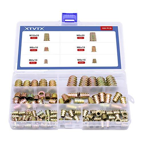 XTVTX 100 pezzi Inserisci filettato Presa esagonale in lega di zinco da Kit di strumenti per l'assortimeno per mobili in legno (M4 / M5 / M6 / M8 / M10)