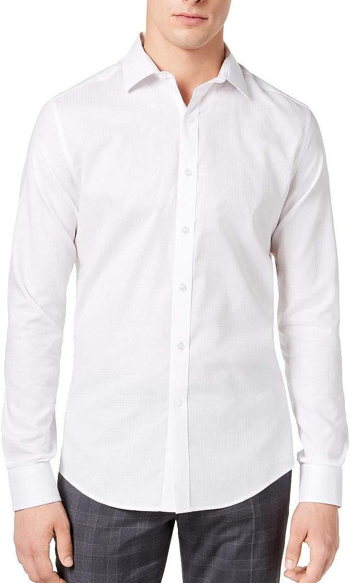 BAR III Men's Slim Fit Shorter Length Stretch Button-Front Shirt