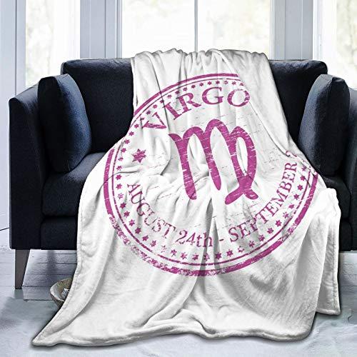 Coperta soffice con motivo oroscopo, colore rosa, 24 agosto e 24 settembre, immagine di design vintage, ultra morbida, per camera da letto, letto e TV, 152,4 x 127 cm