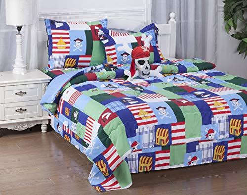 GorgeousHomeLinen 6-8PC Twin/Full Complete Bed in A Bag Comforter Bedding Set with Furry Friend and Matching Sheet Set for Kids (Pirates Patchwork, Twin)