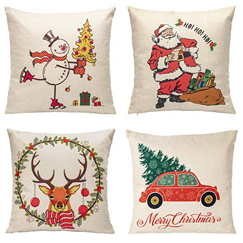 GEX Christmas Throw Pillow Covers Set of 4 18x18 inch Linen Farmhouse Pillow Covers Snowman Santa Reindeer Truck Wreath Snowflakes Winter Holiday Decorative Throw Pillow Covers