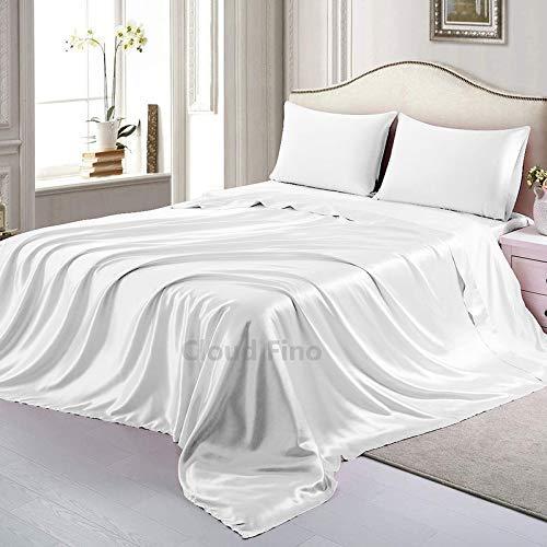 Cloud Fino 100% Pure Silk Satin Sheet Set 4pcs, Silk Fitted Sheet 15'' Deep Pocket,Silk Flat Sheet & Pillowcases Set !!!...