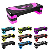 Xn8 Aerobic Stepper Fitness Steps-Adjustable Height 3 Level 10cm, 15cm & 20cm Cardio-Exercise-Steppers-for Home-Gym-Workout-Routines-Training Pink