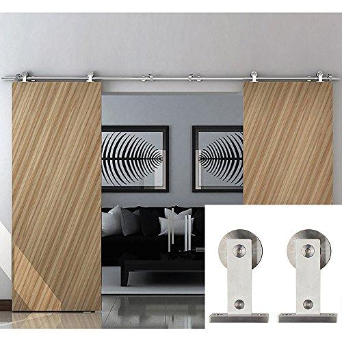 Puerta corredera Hahaemall con cierre de rodillo básico, puerta deslizante resistente, kit de puerta corredera de acero inoxidable, kit para colgar la madera tipo puerta de granero