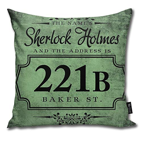 BwwoBing Throw Pillow Cover Case for Bedroom Couch Sofa Home Decor Vintage The Name's Sherlock Holmes Pattern Square 18x18 Inches 45x45cm