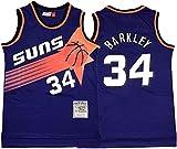 Men's NBA Jersey, Phoenix Suns Barkley # 34 Fan Jersey Retro Bordado Malla Baloncesto Entrenamiento Ropa Sin Mangas Camisetas Sin Mangas,B,S