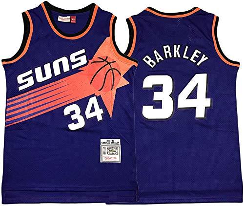 FEZBD Phoenix Suns 34# Barkley Baloncesto Jersey, Hombres Bordado Transporte Secado Rápido Chaleco, Camiseta Deportiva Al Aire Libre,Púrpura,XXL185~190cm