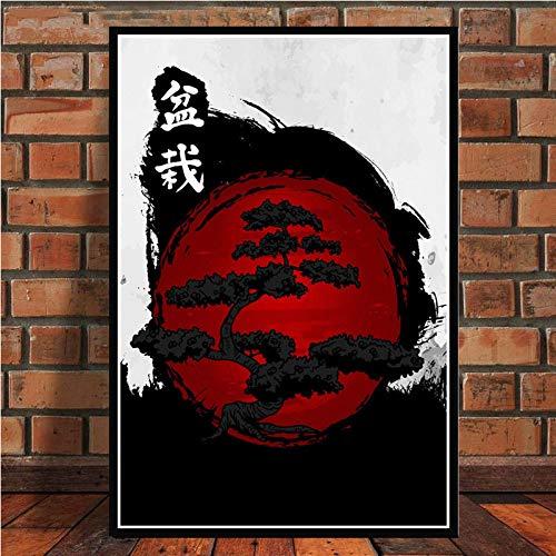 SJAKMA Cuadro En Lienzo,Japonés Rojo Árbol En Maceta Ukiyo-E No Tejido Carteles Mural, Arte 3D Imagen Vertical Pared Pintura Arte Dormitorio Hogar Oficina Decoraciones, 50 Cm * 70 Cm Sin Marco