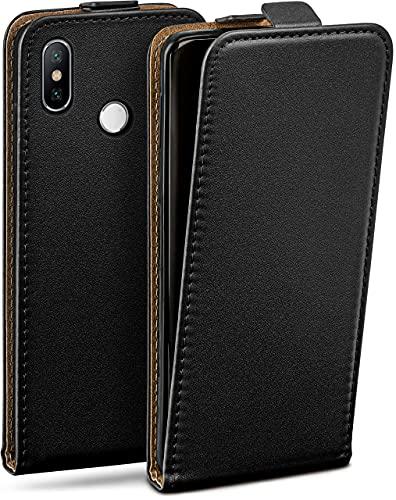 moex Flip Hülle für Xiaomi Mi A2 Lite Hülle klappbar, 360 Grad R&um Komplett-Schutz, Klapphülle aus Vegan Leder, Handytasche mit vertikaler Klappe, magnetisch - Schwarz