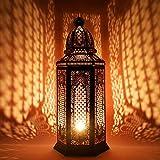 Orientalische Grosse XXL Stehlampe Lampe Yagmur 75cm Schwarz E27   Marokkanische Tischlampen Gross Metall, Lampenschirm Schwarz   Stehleuchte modern, Leuchte für Vintage, Retro & Landhaus Stil Design