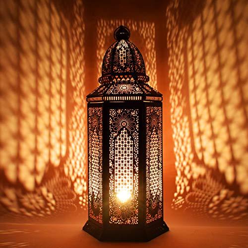 Oosterse grote XXL vloerlamp lamp Yagmur 75cm zwart E27 | Marokkaanse tafellampen groot metaal, lampenkap zwart | vloerlamp modern, lamp voor vintage, retro & landelijke stijl design