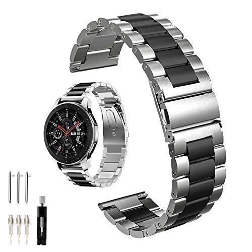 Holifesy Correa de acero inoxidable para Samsung Gear S3 Watch 46 mm/Gear S3 Frontier/Classic, 22 mm, correa de metal de repuesto para Samsung Gear S3 Watch (metal negro + plata)