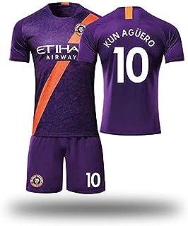 Manchester New Jersey Home 10 Aguero Trikot Set Fußballuniform für Erwachsene Fußballtrikot Atemtrikot Set Kinder Jugend