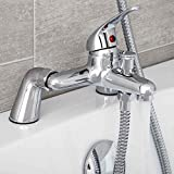 <span class='highlight'>Modern</span> B<span class='highlight'>at</span>hroom Curved B<span class='highlight'>at</span>h Shower Filler Mixer Tap Brass Deck Mounted with Shower Handset and Hose <span class='highlight'>Single</span> <span class='highlight'>Lever</span> Chrome