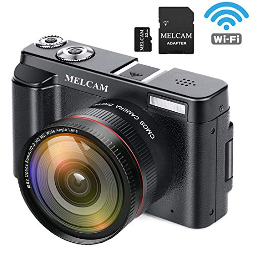 """MELCAM Digital Video Camera Camcorder Full HD 1080P 24.0MP YouTube Vlogging Camera with Wide Angle Lens and 32GB SD Card, 3.0"""" Screen, WiFi Function, Face Detection, Flash Light, 16 Digital Zoom"""
