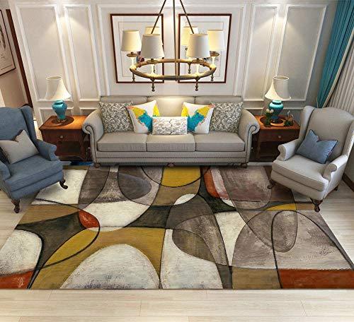 Alfombra De Diseño Moderna Home Alfombra Cruz de Media elipse marrón-amarilloPara Dormitorio Sala De Estar Comedor Piso Fácil de Limpiar 200x300CM(6'6''x9'8'')
