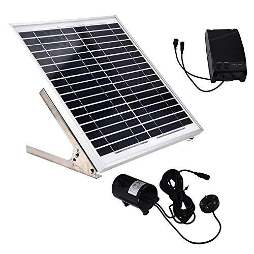Focket Solar-Wasserpumpen-Kit, 15 W Wasserdicht, besonders leise, Doppelpumpe, Stromspeicher, Fernbedienung, Teich, Solar-Springbrunnenpumpe, Tauchwasserpumpe für den Außenbereich