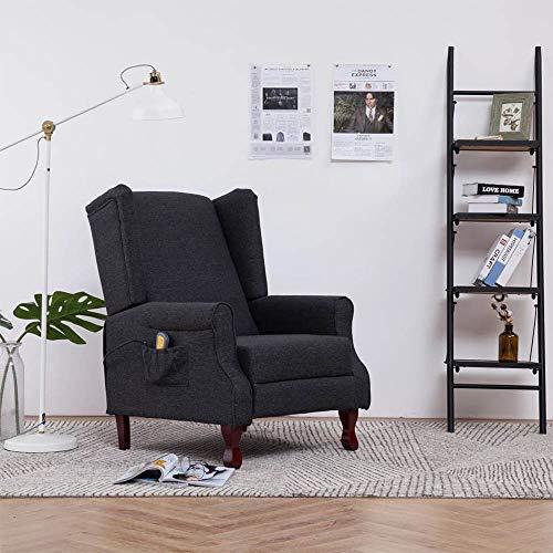 Generic Massagesessel elektrischer Relaxsessel Massagestuhl Fernsehsessel für zuhause Büro mit Wärmefunktion,5 Massagemodi,3 Massagestufen 135°Liegewinkel Verstellbares Liegestuhl TV-Sessel aus Stoff