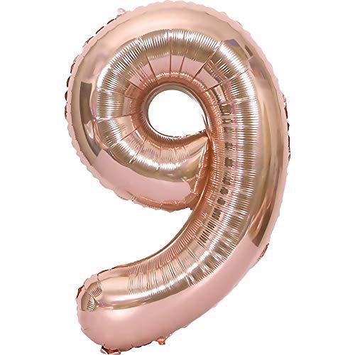 TOPHOPE Globos con números 1 2 3 4 5 6 7 8 9 10 to 18 25 30 40 50 60 70, globos gigantes para decoración de cumpleaños, globos de aire de helio, color oro rosa