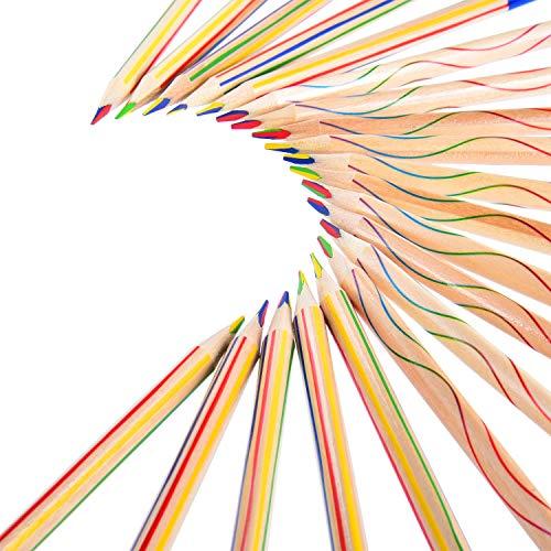 30 Stücke Zeichnung Bleistift 4 in 1 Regenbogen Buntstift Set für Kunst Zeichnung, Färbung und Skizzieren