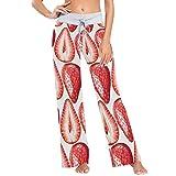 ART VVIES Fragole Mature su Sfondo Bianco Stampa Pantaloni Pigiama da Donna Pantaloni da Yoga Larghi Palazzo Casual con Coulisse - L.