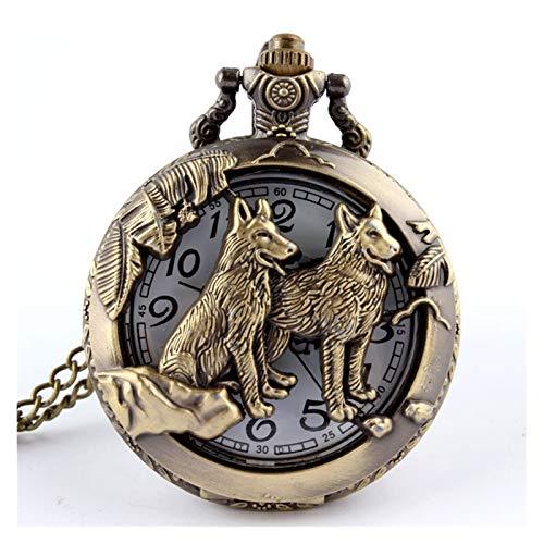 Reloj de bolsillo, estilo retro antiguo chino del zodiaco calado collar para hombre redondo bronce bolsillo bolsillo reloj niño (color: perro)