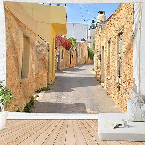 KnSam Tapices para dormitorio estético decoración de pared para niñas poliéster ciudad europea y carretera resistente al moho multicolor Tapices para sala de estar escritorio estilo 4 95 x 73 cm