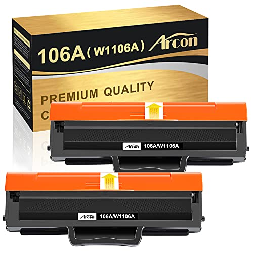 (Con chip, 2-negro) Arcon Tóner 106A compatible con HP 106A W1106A Tóner para HP Laser MFP 137fnw 135w 107w 107a 107r MFP 135a MFP 135wg MFP 135ag MFP 135r MFP 137fwg Tóner
