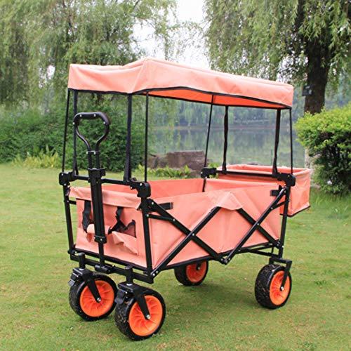 D&M Heavy Duty zusammenklappbarer Folding All Terrain Utility-Bollerwagen Wagen, bewegliche Rollen Buggies, Outdoor Angeln Camping Umgang mit tragbaren Wagen Haustier Kinder,Rosa