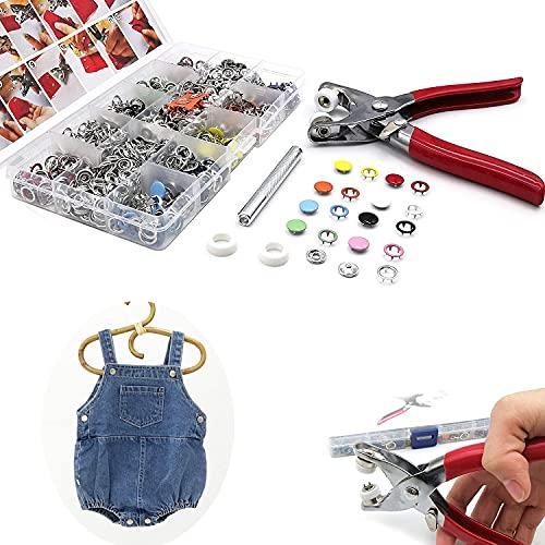 200 Sets Botones a presión de metal con kit de prensa de alicates de sujeción, herramienta de pernos de presión de metal de 9,5 mm, para proyectos de bricolaje de artesanía de ropa para niños