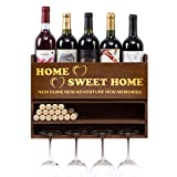 Sankell Wall Mounted Wine Rack, Bottle & Glass Holder, Cork Storage Store Red, White, Champagne, Home Sweet Home Wine Holder, Ideal Wine Decor for Kitchen & Home, Memorable Housewarming Gift