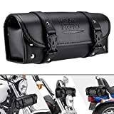 Motorcycle Fork Bag, PU Leather Handlebar Tool Pouch Sissy Bar Roll Storage Bag with 2 Straps