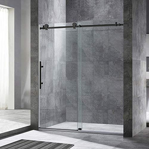 "WOODBRIDGE Frameless Sliding Shower, 56""-60"" Width, 76"" Height, 3/8"" (10 mm) Clear Tempered Glass, Finish, Designed for Smooth Door Closing. MBSDC6076-MBL, 60""x 76"" Matte Black"