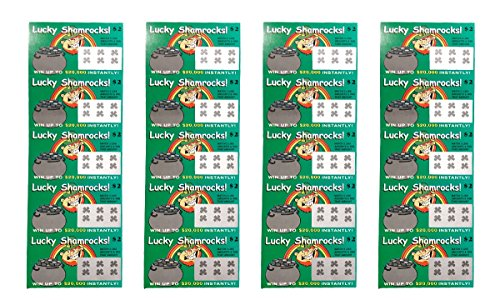 Fake Lottery Tickets-Lucky Shamrock ST Patricks Day (Pack 20 Tickets)-Each Ticket is a Fake Winner...
