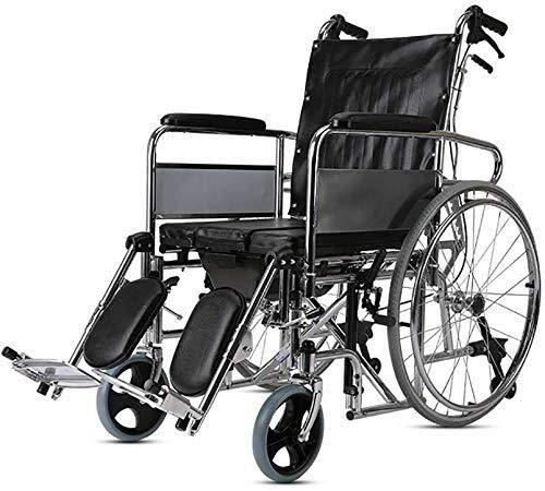 Busirsiz Silla de ruedas con respaldo alto, totalmente reclinable, plegable para coche con inodoro