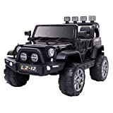 VALUE BOX Safety 12V Electric Two Seaters Ride On Car, Remote Control Kids Toddler Ride On Cars Motorized Vehicles Toy Car, Wheels Suspension, Seat Belts, LED Lights and Horn (Black)