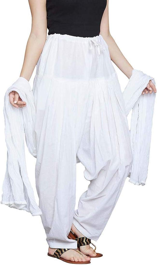 Indian Crafty Vibes Women Cotton Solid Punjabi Semi Patiyala Salwar with Dupatta Set Patiala Pants Bottom Wear