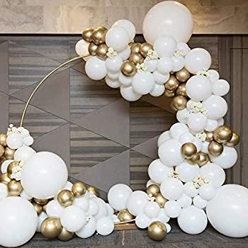 Wedding Balloon Garland Kit White and Gold Balloon Arch of 140pcs Assorted Latex Balloons for Engagement Wedding Party Baby Shower Bachelorette Party Bridal Shower White Christmas Decoration Backdrop