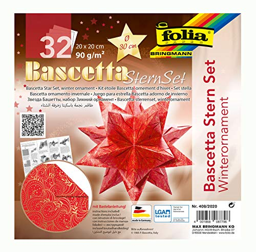 folia 408/2020 - Bastelset Bascetta Stern Winterornament rot/gold, 32 Blatt, 20 x 20 cm, fertige Größe des Papiersterns ca. 30 cm, mit ausführlicher Anleitung - ideal zur zeitlosen Dekoration