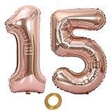 Globos con número 15, número 15, color oro rosa para niña, globos de 15 cumpleaños, globos de 15 cumpleaños de color oro rosa, número 15, globos grandes de 32 pulgadas