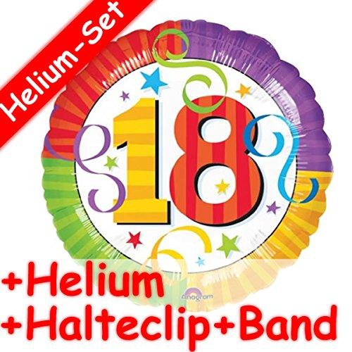 Folieballonset * ZAHL 18 IN bont + Helium vulling + houder clip + band * voor de achtste verjaardag // folie ballon helium decoratie ballongas motto achttien