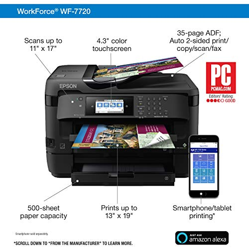 Epson WorkForce WF-7720 Wireless Wide-format Color Inkjet Printer with Copy, Scan, Fax, Wi-Fi Direct and Ethernet, Amazon Dash Replenishment Ready Photo #3