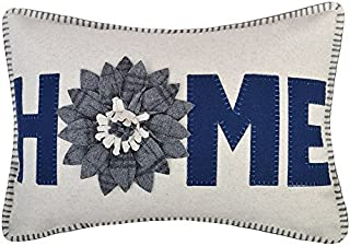 JWH 3D Sunflower Accent Pillow Case Handmade Cushion Cover Decorative Stereo Embroidery Pillowcase Home Bed Living Room Office Chair Couch Decor Sham Gift 14 x 20 Inch Wool Navy Blue