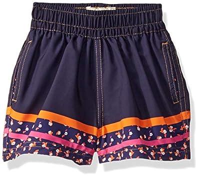 Maaji Boys' Print Mixed Elastic Waist Swimsuit Trunks, Neon Leaves Navy Blue Flower, 16-18