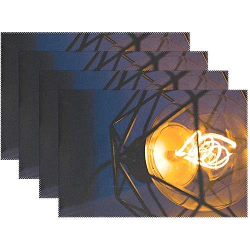 GuyIvan Diseño Brillante Electricidad Inicio IKEA Iluminado Manteles Individuales Juego de 4 Aislantes térmicos Antideslizantes Manteles Antideslizantes