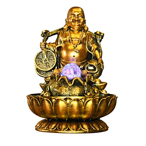 Zen Sitting Buddha Statue,Indoor Water Fountain with Led Lights,Fountain for Office Home Bedroom Relaxation Laughing Buddha A 13inch