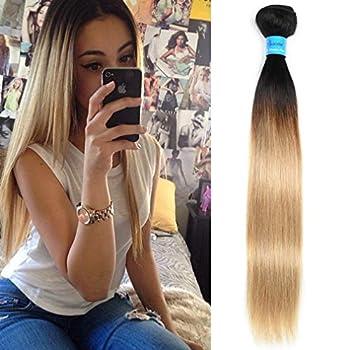 T1B/27 Ombre Straight Human Hair Bundles Brazilian Virgin Hair Weave 2 Tone Color Blonde Hair Weft 100gram