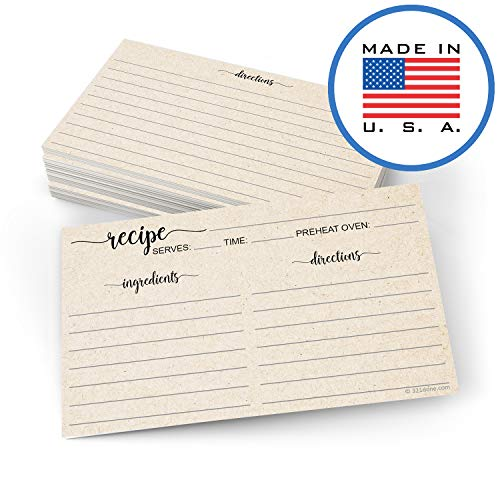 "321Done Small Rustic Recipe Cards (Set of 50) 3"" x 5"" Minimalist Kraft Tan - Thick Luxury Double-Sided - Made in USA"