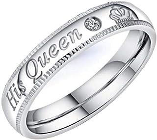 عشاق أزياء إيجابية خواتم زوجين الملكة الملك الملك الملك الفولاذ المقاوم للصدأ هدايا عيد الحب عصابات الخطوبة الزفاف